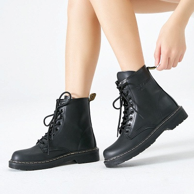Chunky Heel Lace-up Round Toe Boots_3