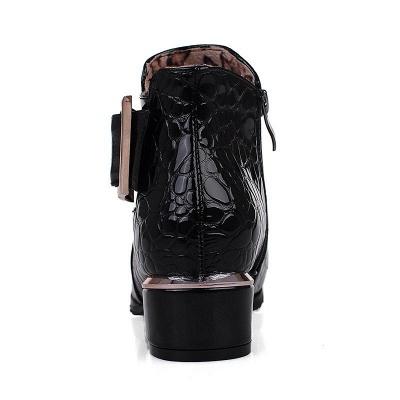 Zipper  Chunky Heel Embossing Boots_11