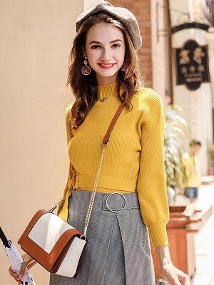 Casual Paneled Turtleneck Long Sleeve Sweater_2