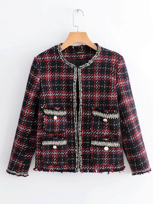 Red Crew Neck Beaded Casual Checkered/Plaid Pockets Coat_7