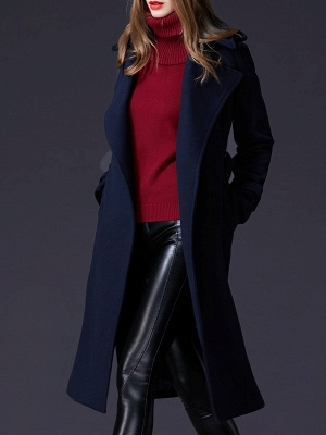 Dark blue Shift Long Sleeve Casual Pockets Paneled Coat_4