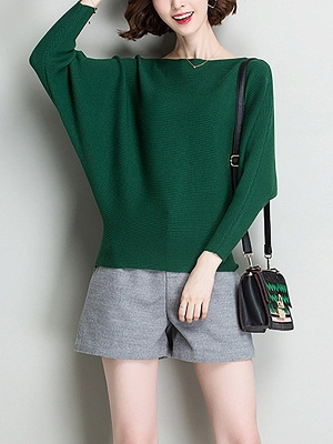 Shift Solid Batwing Bateau/boat neck Casual Sweater_8
