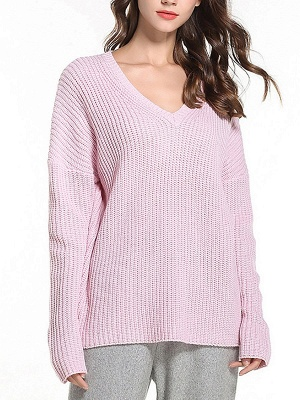 Casual Long Sleeve Knitted V neck Sweater_1