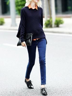 Blue-Orange Solid Long Sleeve Casual Paneled Sweater_4