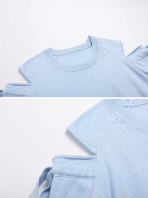 Sky Blue Girly Knitted Cold Shoulder Sweaters_5