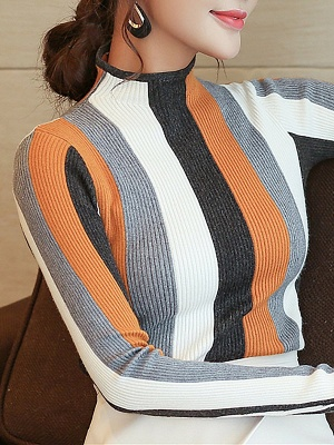 Casual Long Sleeve Stand Collar Color-block Sheath Sweater_4