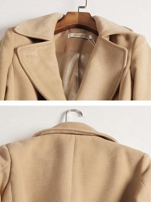 Camel Solid Work Wool Lapel Slit Shift Coat_6