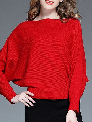 Batwing Casual Solid Sweater_2