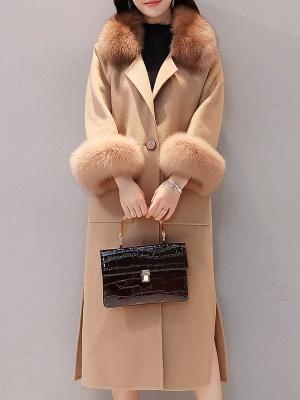 Long Sleeve Shawl Collar Paneled Pockets Slit Fluffy Coat_1