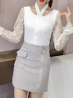 Plain Casual Long Sleeve Sweater_1