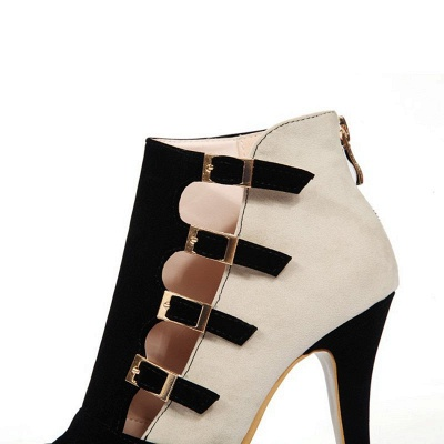 Suede Cone Heel Zipper Lace-up Peep Toe Boots_15