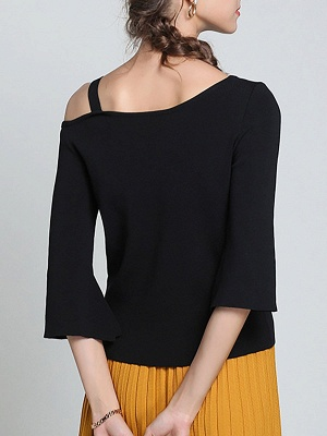 Black Casual One Shoulder Solid Sweater_3