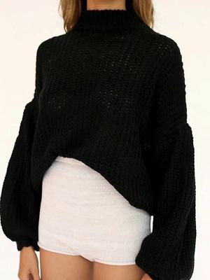 Plain Casual Balloon Sleeve Sweater_2
