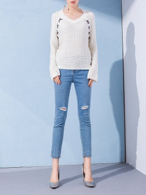 Long Sleeve Casual Knitted Sweater_1
