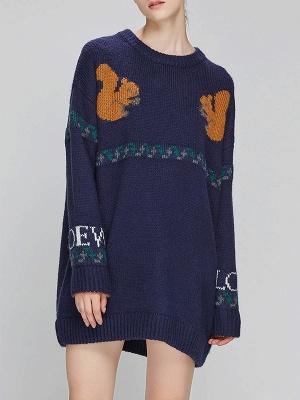 Dark blue Crew Neck Long Sleeve Casual Sweater_4