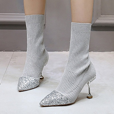 Daily Pointed Toe Cone Heel Knitted Fabric Elegant Boots_13