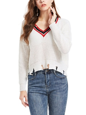 White Long Sleeve Solid Casual Sweater_6