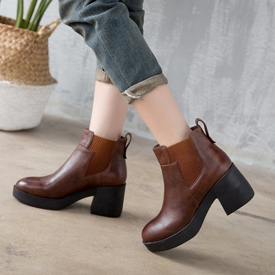 Cowhide Leather Platform Boot_1