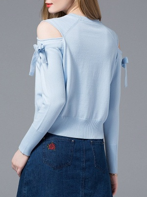 Sky Blue Girly Knitted Cold Shoulder Sweaters_3