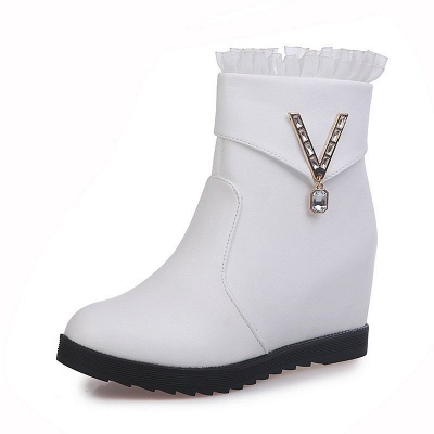 Rhinestone Round Toe Zipper Elegant Wedge Heel Boots_1