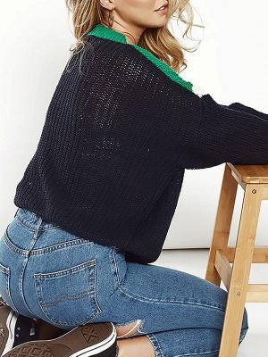 Green Crew Neck Casual Sweater_3