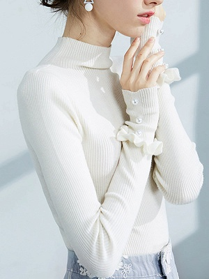 Turtleneck Long Sleeve Casual Sweater_7
