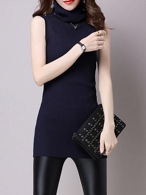 Casual Solid Sleeveless Ribbed Sheath Sweater_1