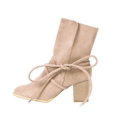 Women's Boots Lace-Up Chunky Heel Round Toe Elegant Apricot Boots_3
