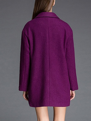 Long Sleeve Casual Solid Shift Coat_5