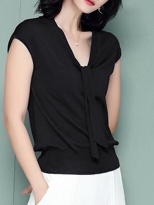 Tie-neck Ice Yarn Knit Elegant Short Sleeve Shift Knitted Sweater_9
