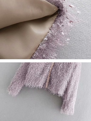 Pink Solid V-Neck Paneled Casual Fringed Shift Coat_6