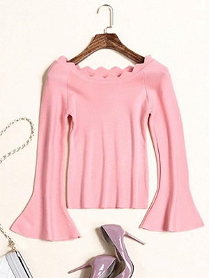 Sheath Solid Casual Crew Neck Frill Sleeve Sweater_2