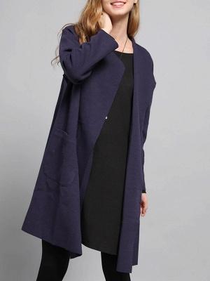 Navy Blue Pockets Solid Long Sleeve Coat_4