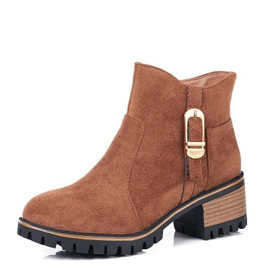 Buckle Chunky Heel Daily Round Toe Zipper Boots_1
