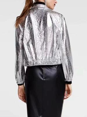 Silver Gathered Paneled Shirt Collar Zipper Pockets Coat_3