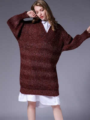 Knitted Casual Long Sleeve Shift Sweater_8