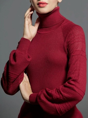 Casual Balloon Sleeve Knitted Sweater_1