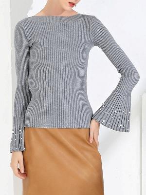 Frill Sleeve Casual Bateau/boat neck Sheath Sweater_6