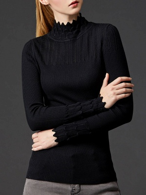 Stand Collar Casual Shift Solid Long Sleeve Sweater_3