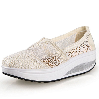 Lace Daily Breathable Fabrics Summer Round Toe Loafer Shoes_2