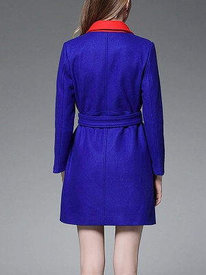 Royal blue Solid Buttoned Pockets Color-block Coat_3
