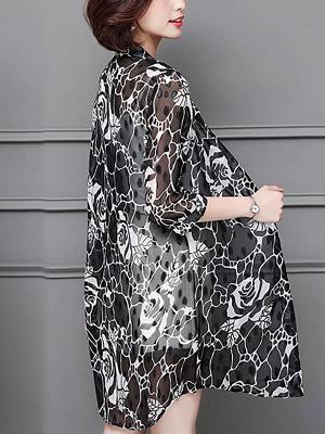3/4 Sleeve Casual Chiffon Abstract See-through Look Printed Coat_5