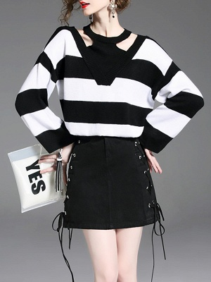 Black-white Crew Neck Shift Long Sleeve Solid Sweater_6