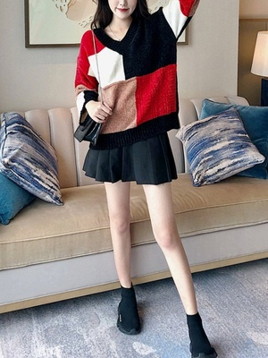 Multicolor Casual Solid Long Sleeve V neck Color-block Sweater_4