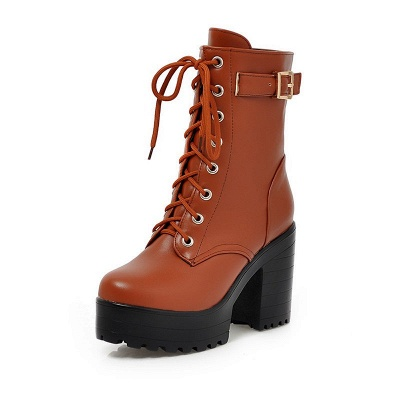 Lace-up PU Chunky Heel Round Toe Boots_9