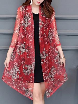 3/4 Sleeve Casual Printed Floral Chiffon Coat_1