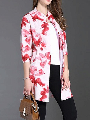 Long Sleeve Casual Stand Collar Shift Floral Coat_1