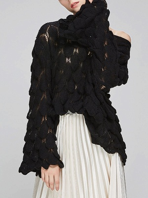 Casual Bell Sleeve Leaf One Shoulder Sweater_4