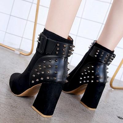 Chunky Heel Daily Rivet Pointed Toe Zipper Elegant Boots_11