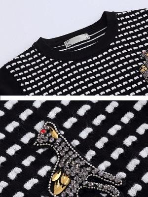Black Long Sleeve Beaded Casual Crew Neck Sweater_5